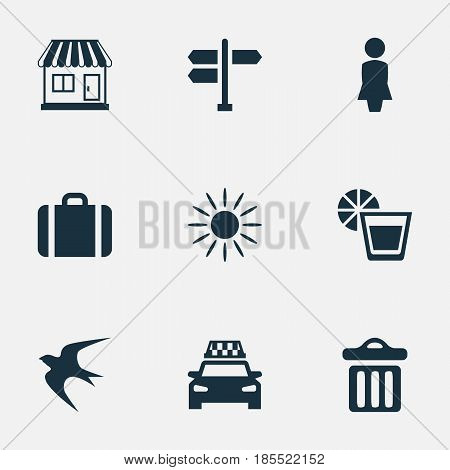 Vector Illustration Set Of Simple Beach Icons. Elements Woman, Hot, Store And Other Synonyms Garbage, Lady And Crossroad.