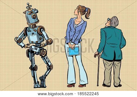 Robot, girl and old viewers are back. A set of human shapes silhouettes. Pop art retro vector illustration