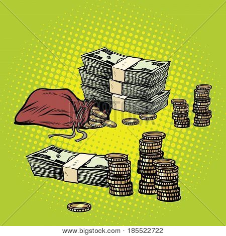 Stack of dollars and Golden coins. Business and Finance. Pop art retro vector illustration