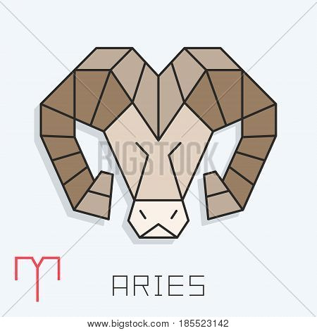 Aries zodiac sign, horoscope symbol, vector illustration