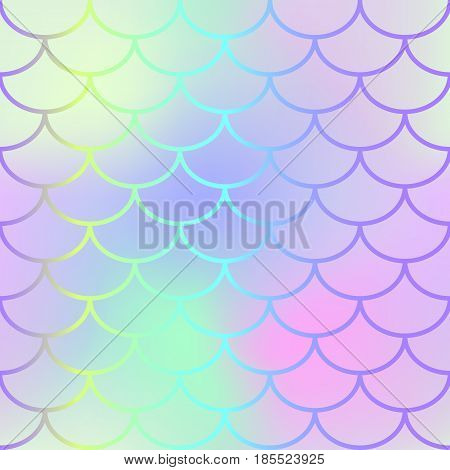 Magic mermaid tail texture. Fish scale seamless pattern. Mermaid vector background for beach party or summer wedding design. Romantic pink blue gradient mesh with fish scale ornament. Marine fishscale