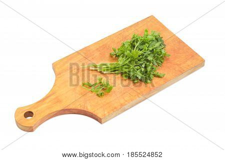 Bunch of the fresh parsley on the old wooden cutting board on a light background
