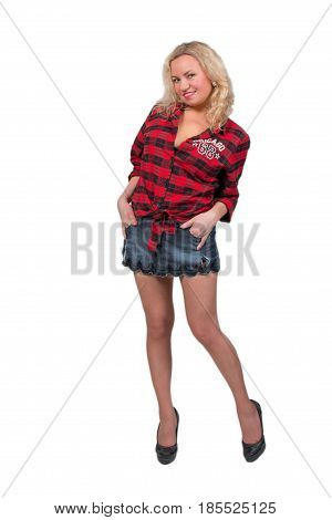 Sexy blonde girl in denim miniskirt isolated on white background