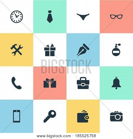 Vector Illustration Set Of Simple Accessories Icons. Elements Ink Pencil, Repair, Cravat And Other Synonyms Switchboard, Bag And Call.