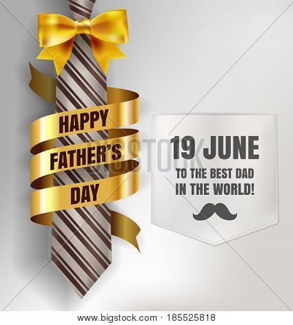 Happy Father's Day Background Template With Man Brown Tie And White Shirt With Gold Bow And Ribbon F