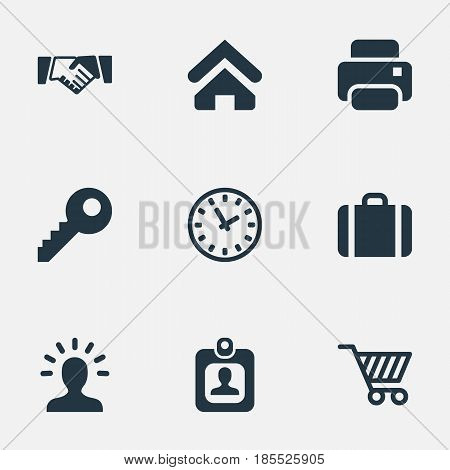 Vector Illustration Set Of Simple Trade Icons. Elements Clock, Trading Purse, User And Other Synonyms Key, Profile And Printer.