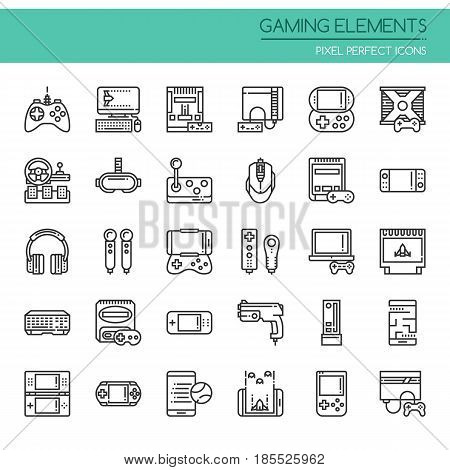 Gaming Elements ,Thin Line and Pixel Perfect Icons
