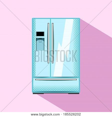 Two-door refrigerator with water cooler. Kitchen appliance flat style vector illustration. Family size fridge with freezer. Smart fridge electric equipment. Modern home appliance. Food storage icon