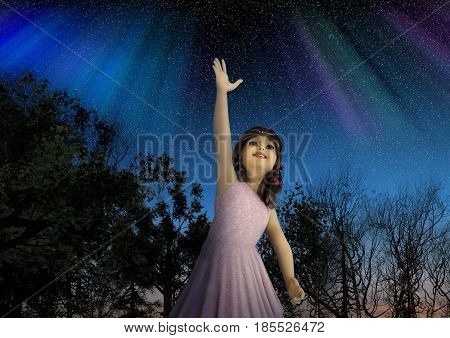 3d illustration of a young girl reaching for the stars in hope and full of dreams.
