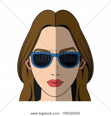 pretty girl with beautiful hair and attractive face vector illustration
