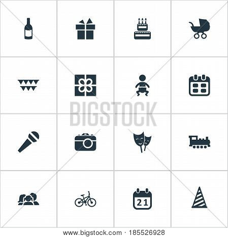Vector Illustration Set Of Simple Birthday Icons. Elements Camera, Confectionery, Speech And Other Synonyms Actor, Infant And Kid.