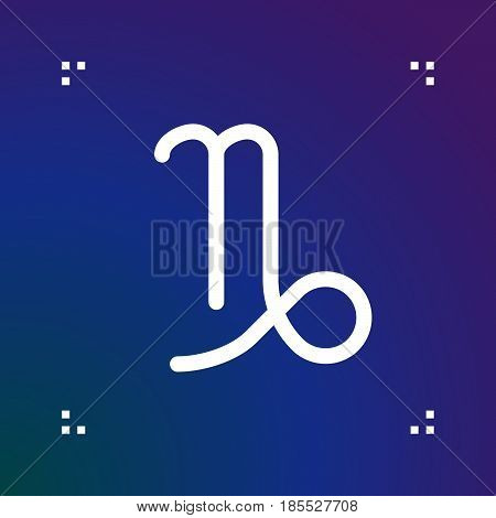 Capricorn Zodiac Vector Sign, Horoscope Symbol, Astrology Line Icon, Linear Logo Illustration