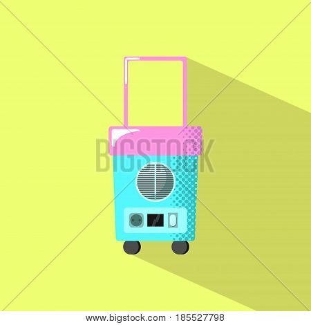 Travel fridge with shadow. Summer holiday electric equipment flat style vector illustration. Wheeled mobile outdoor fridge. Weekend travel food storage icon. Car refrigerator. Picnic lunch appliance