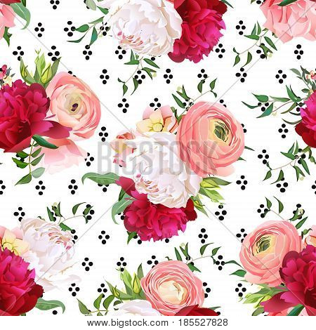 Burgundy red and white peonies, ranunculus, rose seamless vector pattern. Stylish funky print with luxury bright flowers and black round dots confetti.