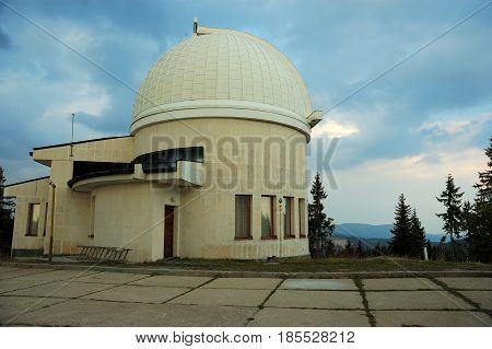 Rojen Observatory at sunset in Rodopi Mountain, Bulgaria