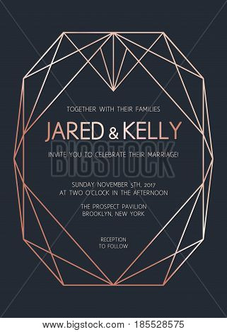 Vector Modern Design Template For Wedding Invitation. Rose Gold Geometric Diamond On Dark Background