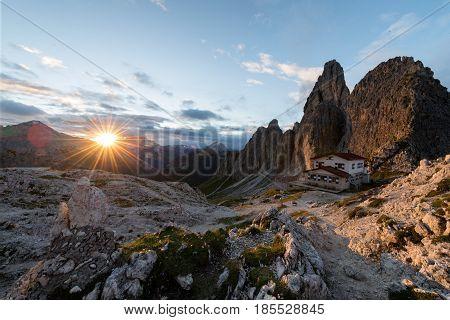 Great view of the top Cadini di Misurina range in National Park Tre Cime di Lavaredo. Dolomites South Tyrol. Location Auronzo Italy Europe.