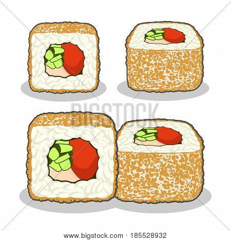 Vector set of the curly dragon sushi roll with cucumber, nori, salmon fish, tuna flakes and cream cheese from different angles isolated on a white background.