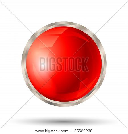 Blank red button with silver metallic border isolated on white background. Vector illustration.