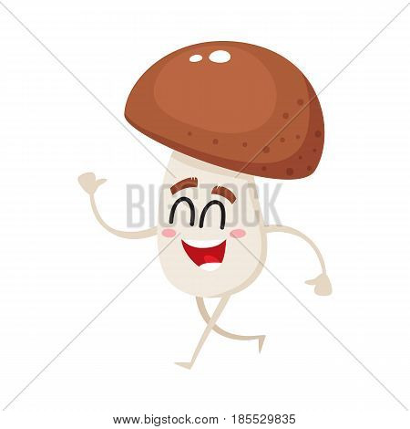 Funny porcini mushroom character with smiling human face and closed eyes walking, cartoon vector illustration isolated on a white background. Smiling porcini mushroom character walking happily