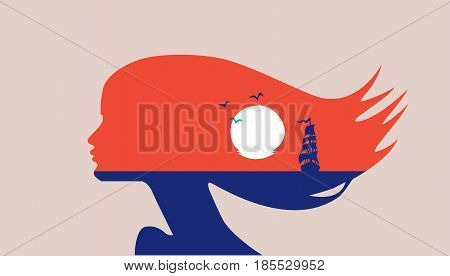 Landscape in silhouette - beautiful woman face profile, double exposure - sea, sunset, sailboat. Multiexposure, romance, hair flowing in wind. Sea, ocean, waiting for love. Vector, red, blue