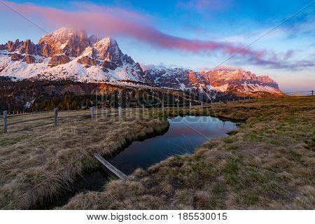 Mount Sas de Putia/Peitlerkofel from Passo Erbe in Italian Alps Dolomites