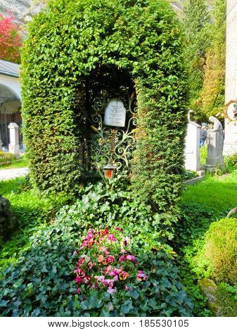 Salzburg, Austria - May 01, 2017: The St. Peter's Cemetery has kept its present form since 1627 at Salzburg, Austria
