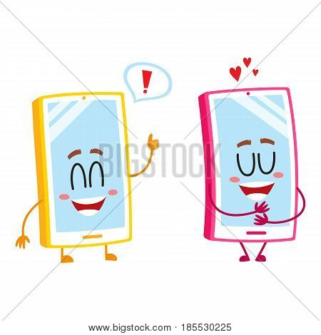 Two cartoon mobile phone characters, one hugging itself with love, another showing thumb up, vector illustration isolated on white background. Two cartoon mobile phone, smartphone characters