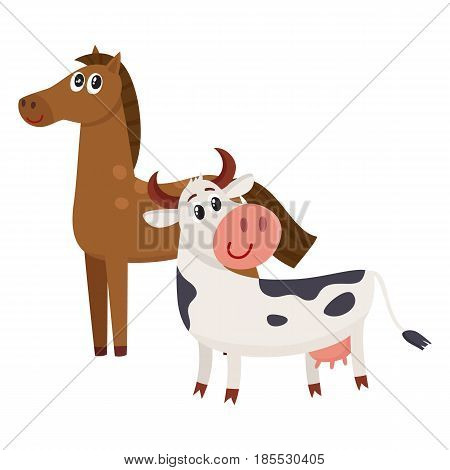 Brown horse, black and white cow with big eyes, side view cartoon vector illustration isolated on white background. Cute and funny farm horse and cow with friendly face and big eyes