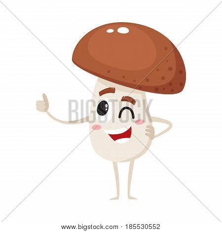 Funny porcini mushroom character with human face showing thumb up and winking, cartoon vector illustration isolated on a white background. Smiling, winking porcini mushroom character giving thumb up