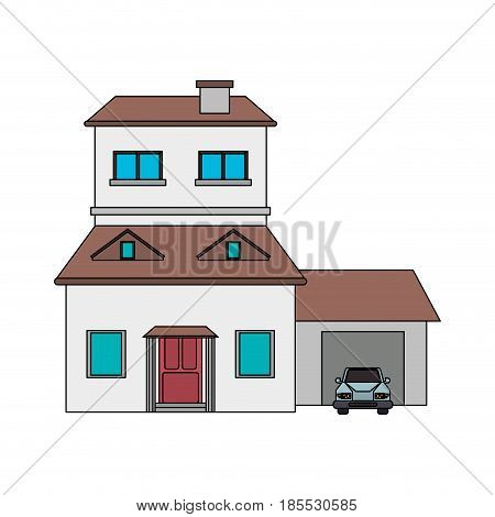 colorful image cartoon facade two house floors with garage and chimney vector illustration
