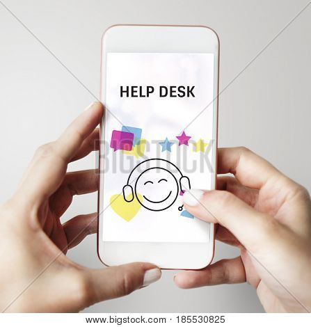 Illustration of contact us online customer services on mobile phone