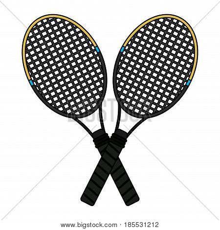 colorful image cartoon two tennis racquets cross vector illustration