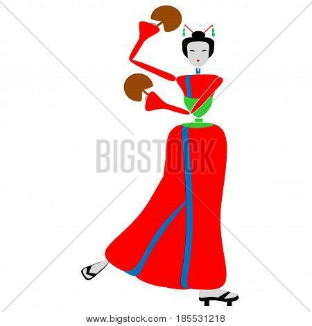 Geisha dance with fan in the hands - Step 13.