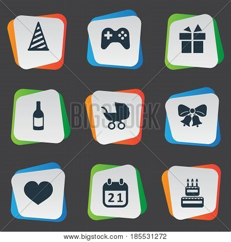 Vector Illustration Set Of Simple Celebration Icons. Elements Ribbon, Beverage, Special Day And Other Synonyms Resonate, Carriage And Confectionery.