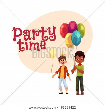 Black and Caucasian little boys with balloons, birthday celebration party, , cartoon style invitation, banner, poster, greeting card design. Party invitation, advertisement, Two boys, kids