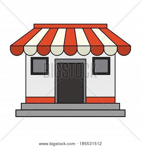 colorful image cartoon facade shop store vector illustration