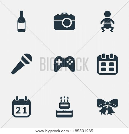 Vector Illustration Set Of Simple Birthday Icons. Elements Days, Beverage, Resonate And Other Synonyms Fizz, Calendar And Days.