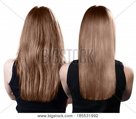 Hair before and after treatment. Haircare concept.