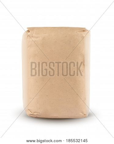 Flour package in brown paper. Kraft paper. Package for sugar or salt isolated on white background with clipping path. Mockup.
