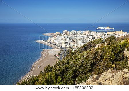 Rhodes Greece-October 282016.Panorama of the city of Rhodes. Rhodes Town is located on the island of Rhodes in Greece a very popular location for tourists from all over the world