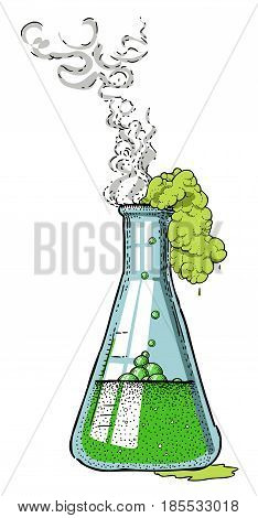 Cartoon image of chemicals. An artistic freehand picture.