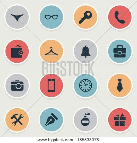 Vector Illustration Set Of Simple Accessories Icons. Elements Fragrance, Call Button, Ink Pencil And Other Synonyms Photo, Camera And Underpants.