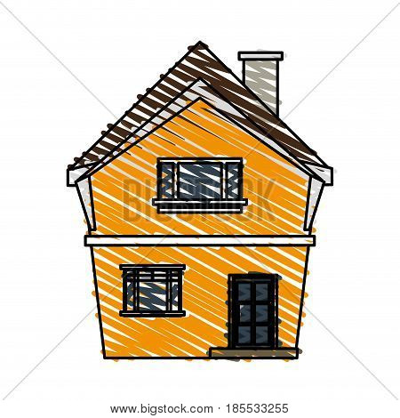 color crayon stripe cartoon facade irregular structure house with chimney vector illustration