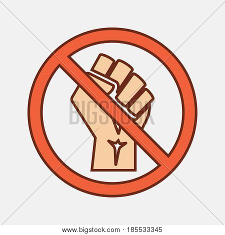 isolated vector illustration No revolution! Raised fist black doodle sign icon poster