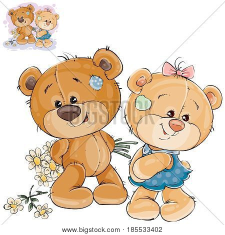 Vector illustration of a teddy bear hides behind back a bouquet of flowers and does not dare to give them to her girlfriend. Template for greeting card with Valentines day