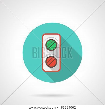 Symbol of railroad semaphore with red and green lights. Rail traffic element for trains. Round flat design blue vector icon, long shadow.