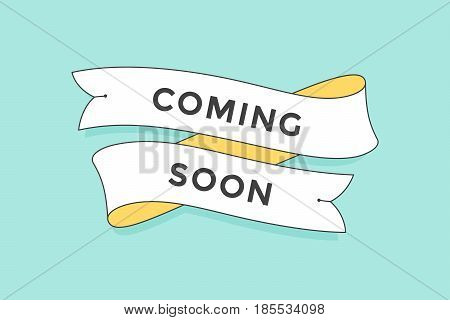 Old school vintage ribbon banner with text Coming Soon. Colorful ibbon in trendy style on turquoise background for stores, shopping malls, shops, markets. Hand-drawn element. Vector Illustration