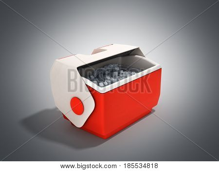 Open Refrigerator Box Red 3D Render On Grey Background