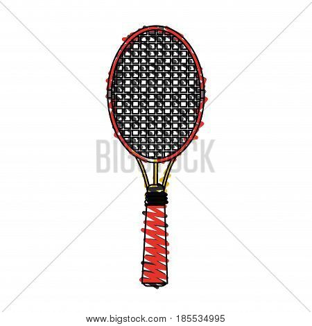 color crayon stripe cartoon tennis racquet with handle vector illustration